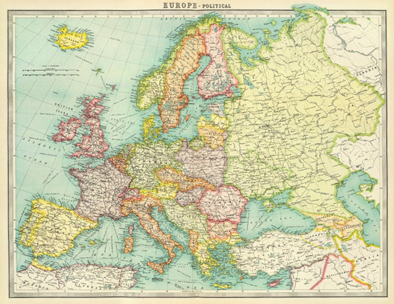 Antique Europe digital map. Europe printable map poster. Europe Political  Map print.