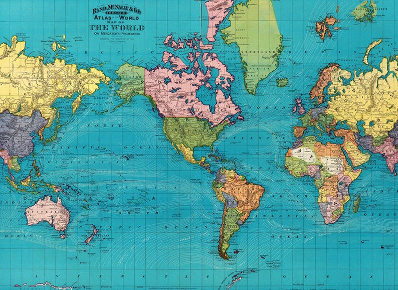 photograph relating to World Map Printable named Planet map printable electronic down load.Classic Globe Map. 1897 Previous Environment Map - Global Map large answer - Quick Electronic Obtain.PRINTABLE