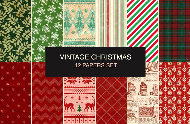 photograph relating to Printable Christmas Paper referred to as 12 Basic Xmas Electronic Sbook Paper. Printable Xmas paper pack. Xmas wrapping paper.