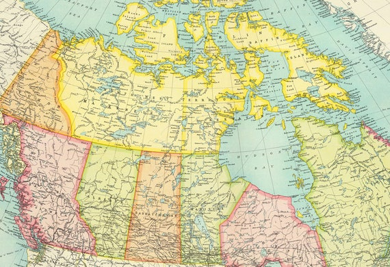 Antique Canada digital map. Canada Map poster. North America | Etsy