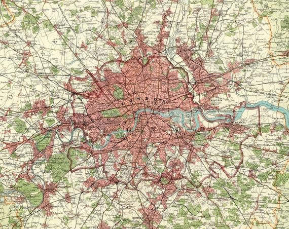 Antique Digital London City Map London Poster London City Etsy
