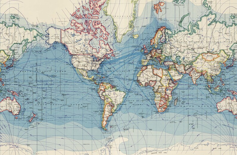 Digital World Map Printable Antique World Map Poster Map For Etsy