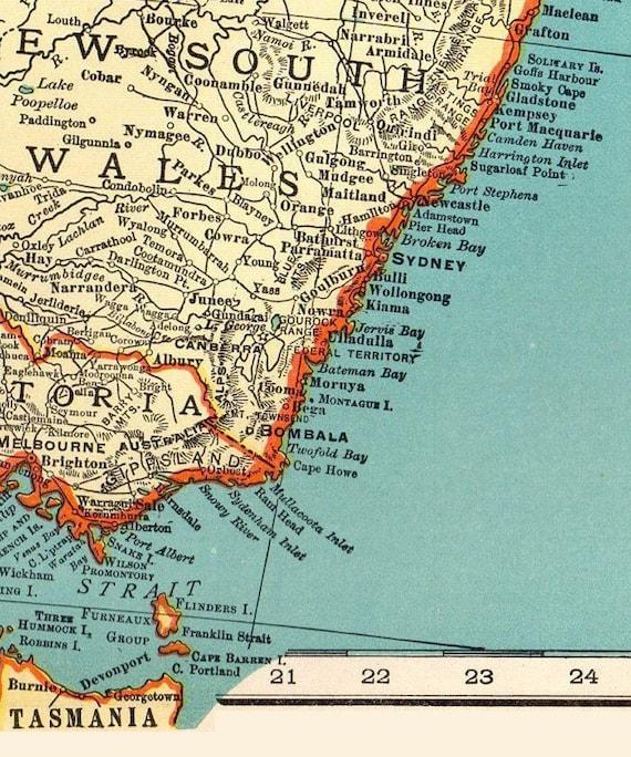 Printable Map Of Australia.Antique Australia Digital Map Printable Map Of Australia Vintage Digital Map Antique Map Printable