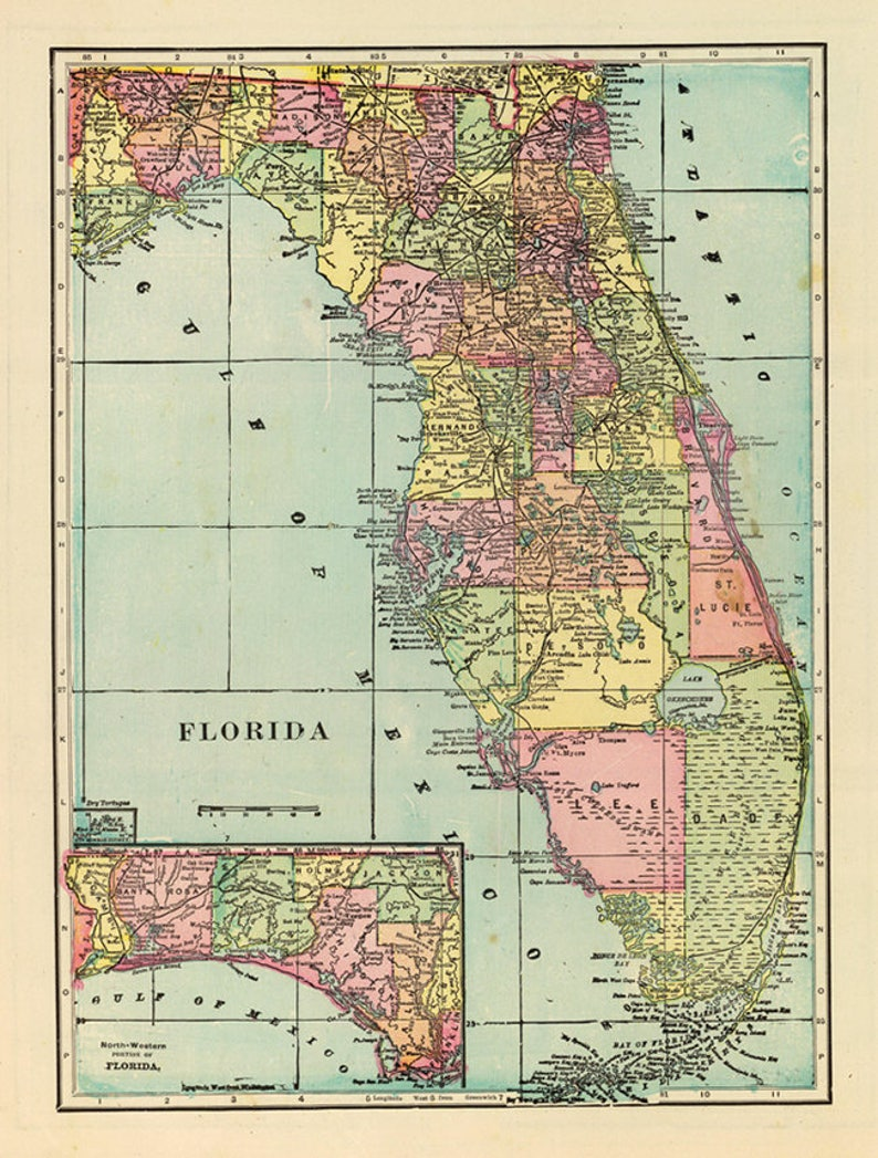 picture regarding Printable Map of Florida titled Antique Florida Electronic map. Florida printable poster. Florida electronic print.
