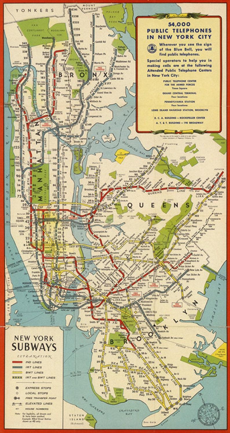 Antique New York Digital Map New York Subway Printable Poster Etsy