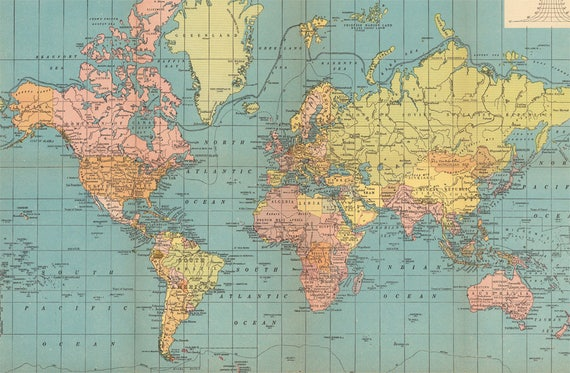 Antique digital World Map Poster. Printable nursery room atlas map. Antique  World Map with flags print.