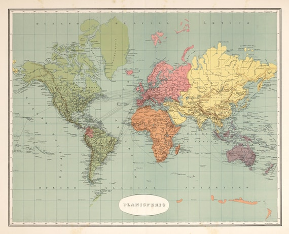 World map printable digital downloadntage world map old etsy image 0 gumiabroncs Image collections