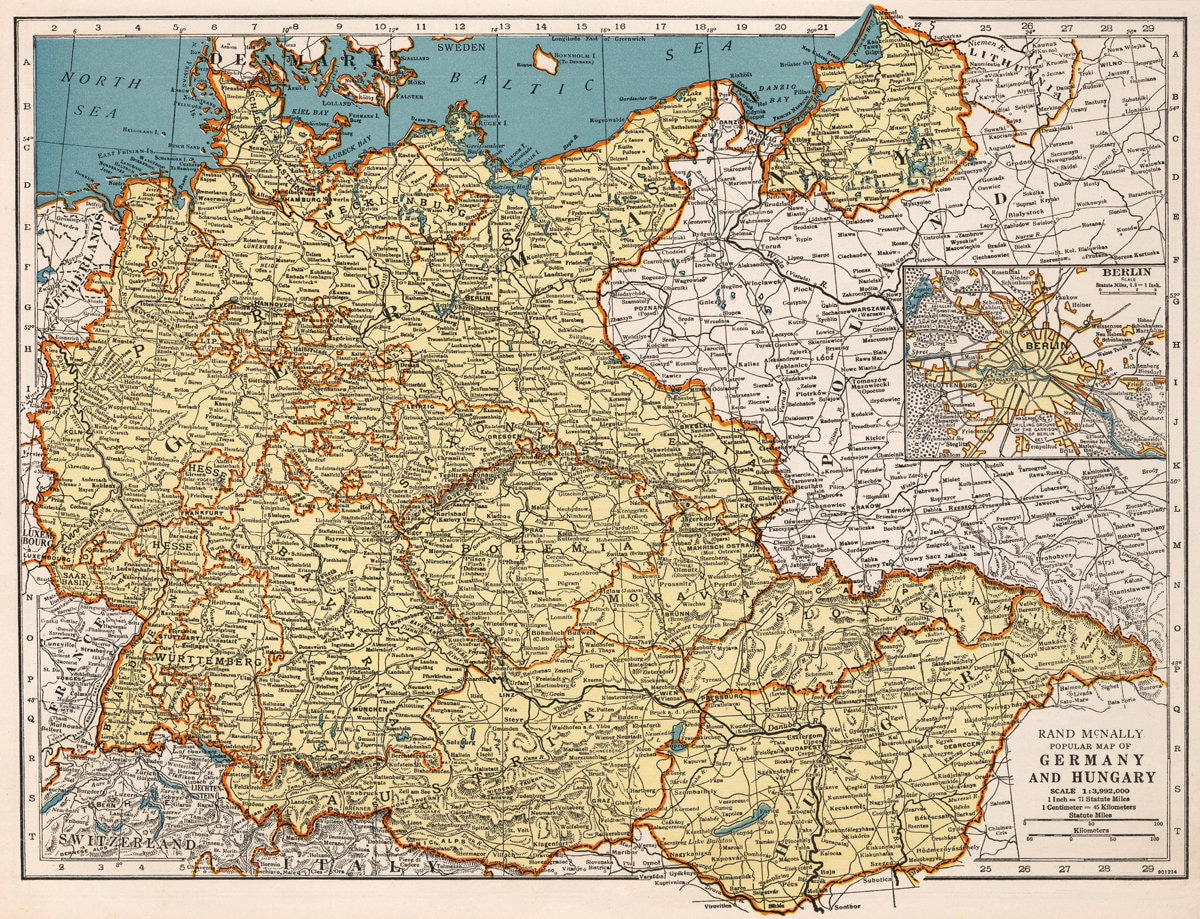 Map Of Old Germany.Old Germany Digital Map Deutschland Printable Map Vintage Etsy