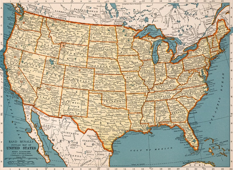 Old Map Of United States Of America Map Digital Vintage Art Etsy - Old-map-of-us