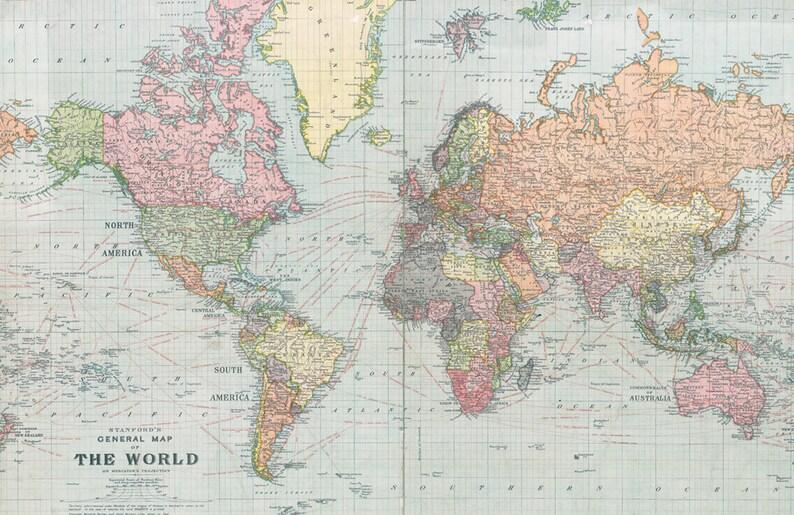 Antique Digital World Map World Map Printable Poster World Etsy