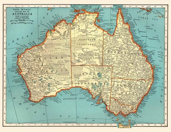 Australia Atlas Map.Antique Australia Digital Map Printable Map Of Australia Vintage Digital Map Antique Map Printable