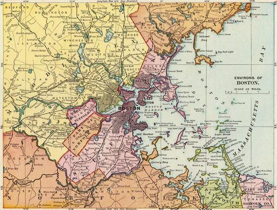 Antique Boston Map.Antique Boston Digital Map Printable Map Of Boston Boston Etsy