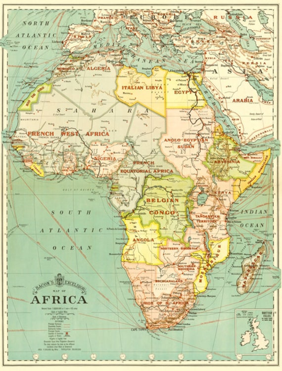 Africa Digital Map Print Antique Africa Printable Map Africa Etsy