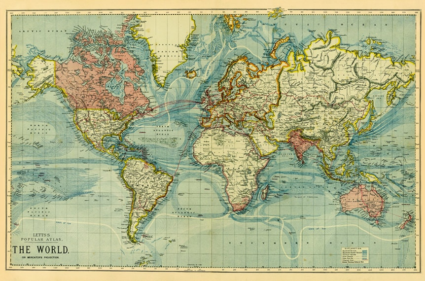 Antique Digital World Map Poster Printable World Map Nursery Etsy