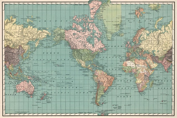 graphic about Vintage World Map Printable known as Antique Global map electronic. World-wide map printable poster. Faculty Atlas map for nursery area decoration.