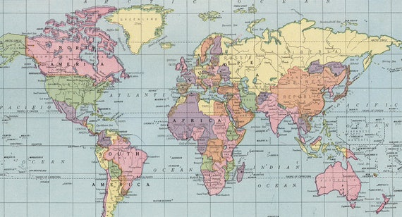 World map printable digital download 1925 vintage world map etsy image 0 gumiabroncs Image collections