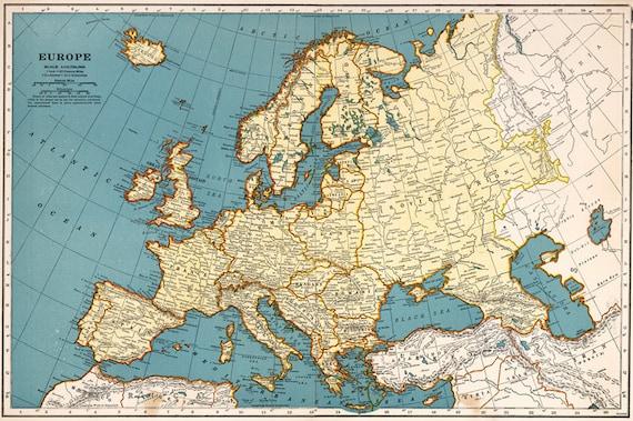 1923 Old Europe map printable digital download. Vintage Europe Map,Instant  Digital Download. Europe traveller map. Trip to Europe