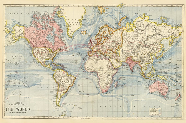 Antique School World Map Digital Poster Printable World Map Etsy