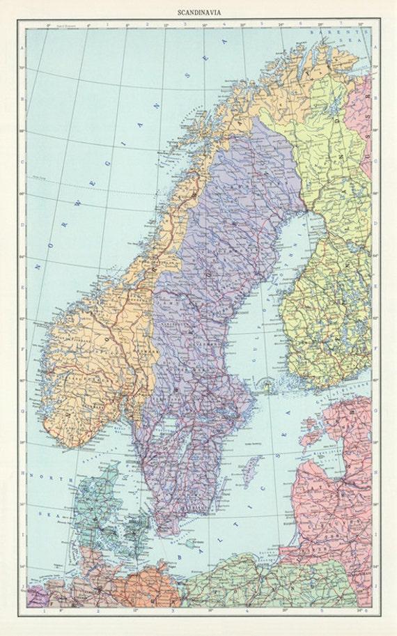 Vintage Sweden Norway and Denmark map digital-Scandinavia Map   Etsy