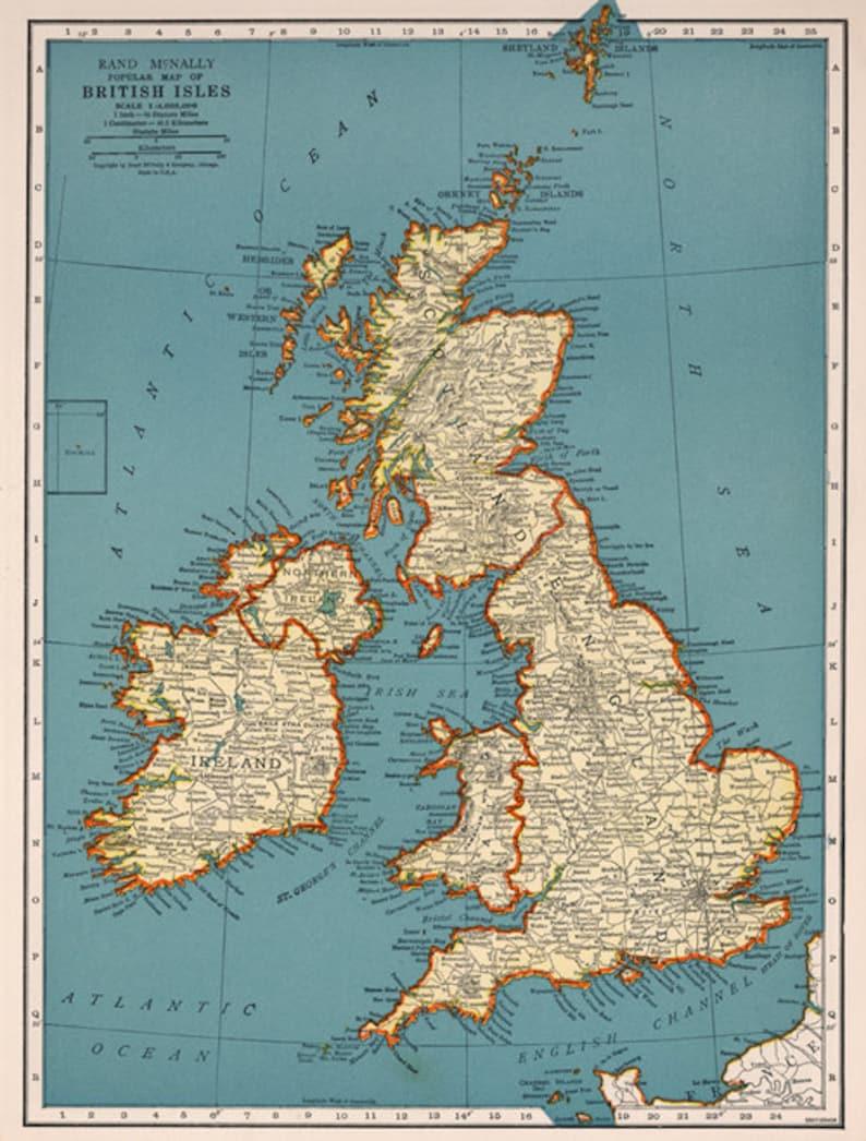 Map Of England Vintage.Antique Digital England Map United Kingdom Printable Poster Etsy
