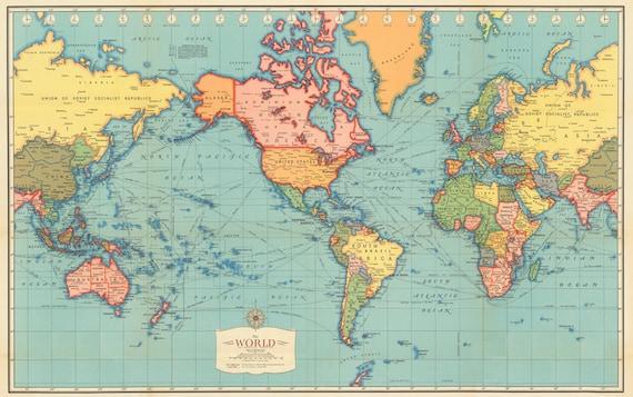 Antique World map digital print. World map printable. Vintage | Etsy
