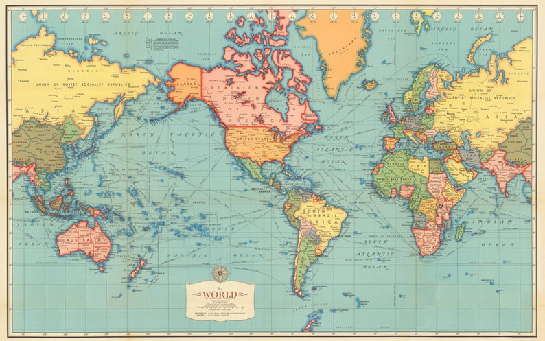 image regarding Printable World Map titled Antique World wide map electronic print. Earth map printable. Basic Globe map poster.