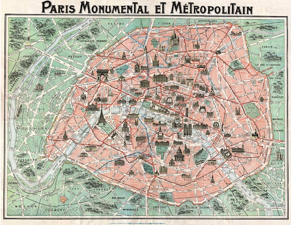 Alte Karte von Paris digitalen DOWNLOAD Ephemera.Antique PARIS | Etsy