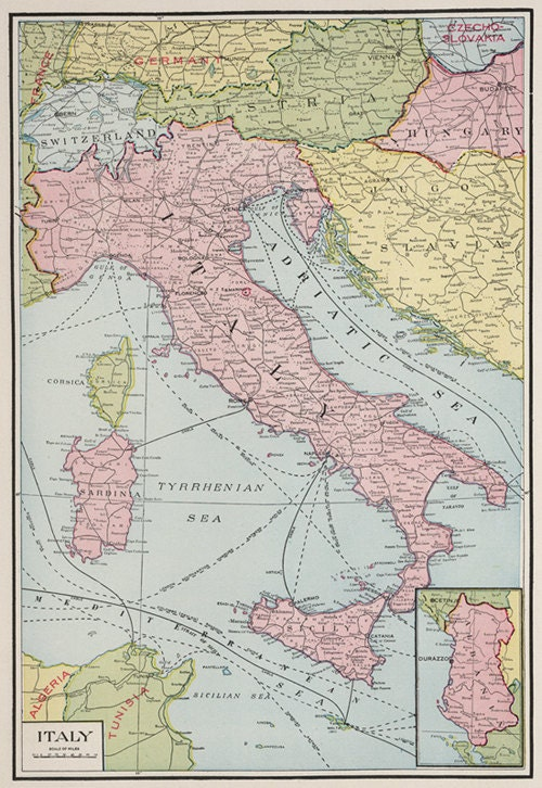 Map Of Italy Printable.Italy Digital Map Map Printable Digital Download Vintage Map Of