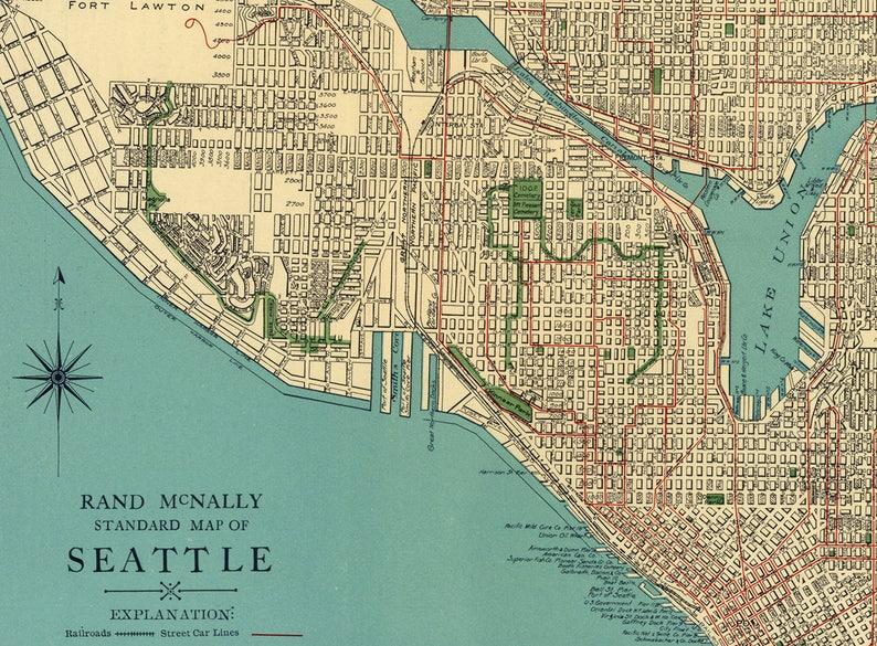 Us Map Seattle.Vintage 1920 S Seattle Street Map City Of Seattle Washington Etsy