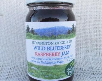 Maine wild blueberry raspberry jam/raspberry jam/jar of jam/blueberry jam/homemade jam/low sugar jam/berry jam/fruit preserves/delicious jam