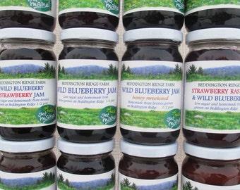 12 jar homemade jam variety package/12 jar jam variety pack/jam assortment/low sugar jams/homemade berry jam/ mixed berry jams/box of jams