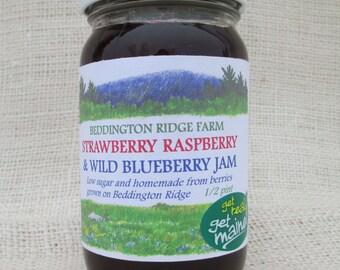 wild blueberry strawberry raspberry jam/wild blueberry jam/homemade strawberry jam/ homemade raspberry jam/low sugar jam/mixed berry jam/jam