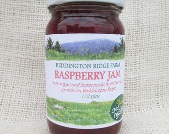 Maine raspberry jam/homemade raspberry jam/raspberry fruit spread/low sugar raspberry jam/raspberry preserve/raspberry jam/raspberry spread