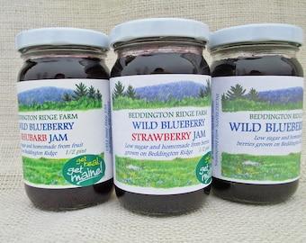 3 jar homemade jam variety pack/3 jar jam variety pack/3 jar jam assortment/mix of jams/low sugar jams/homemade berry jam/ mixed berry jam