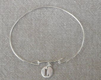 """Silver simple Bangle """"Initial"""""""
