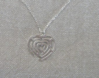 "Choker with silver neck ""Labyrinth heart"" Valentine's day"