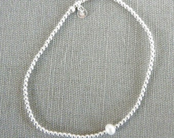 """Silver bracelet """"small silver beads and Freshwater Pearl"""""""