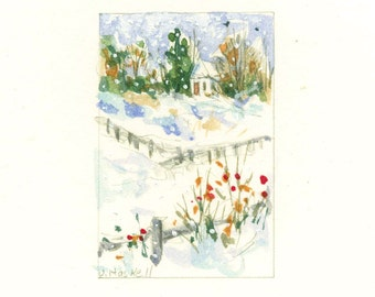 Snow On The Farm Watercolor