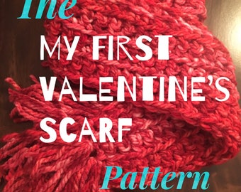 PATTERN: My First Valentine Scarf   Beginner Crochet Pattern   Easy DIY Project   Teach Kids to Crochet   Pink and Red Chunky Acrylic Yarn