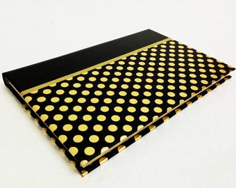 Handmade Journal with Black and Metallic Gold Dot Pattern