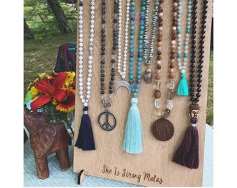 Mala Necklace Display w/ Custom Logo- 9 Necklaces {wooden display, lasercut display, custom branded display, craft show display}
