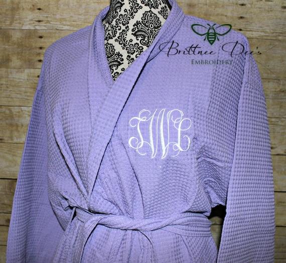 c5e4218e82 Monogrammed Woman s Knee Length Kimono Bathrobe Waffle