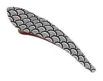 Statement Kimono Clip Long Metal Silk Fabric Hair Clip with Glitter