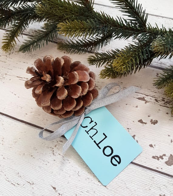 CardsHandmade Place Cone Table Christmas Personalised And Pine NamesFrosted Decor Holiday JulFKcT13