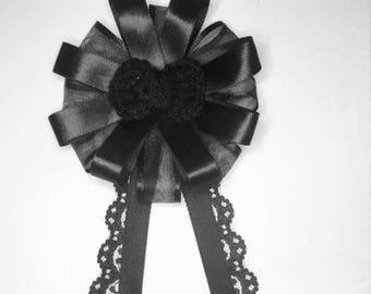 Black Crochet Bow Ribbon Rosette Brooch