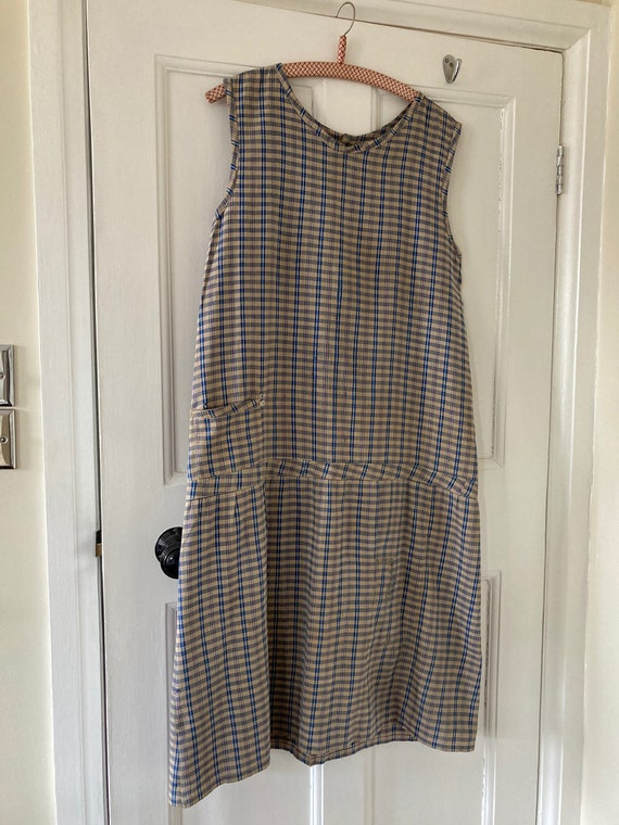 Work wear handmade 1930s check cotton dress