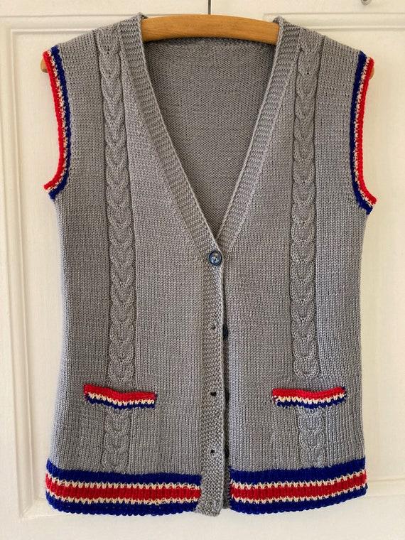 1940s hand knitted wool waistcoat