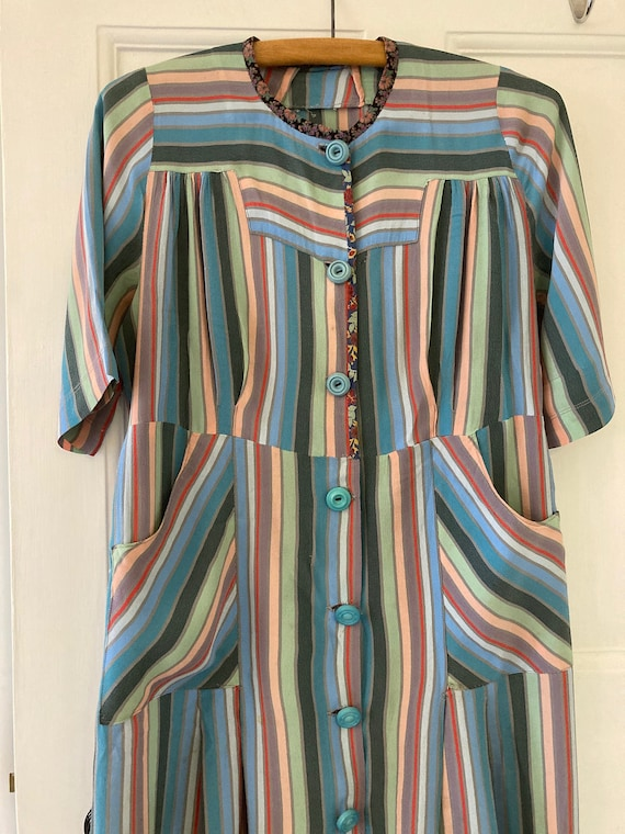 1930s work wear multi colour striped dress