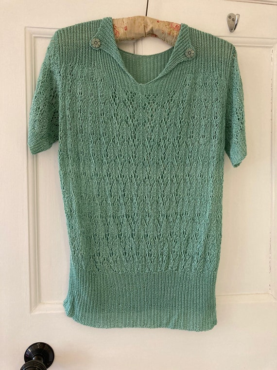 1920s hand knit lacy stitch sea green short sleeve