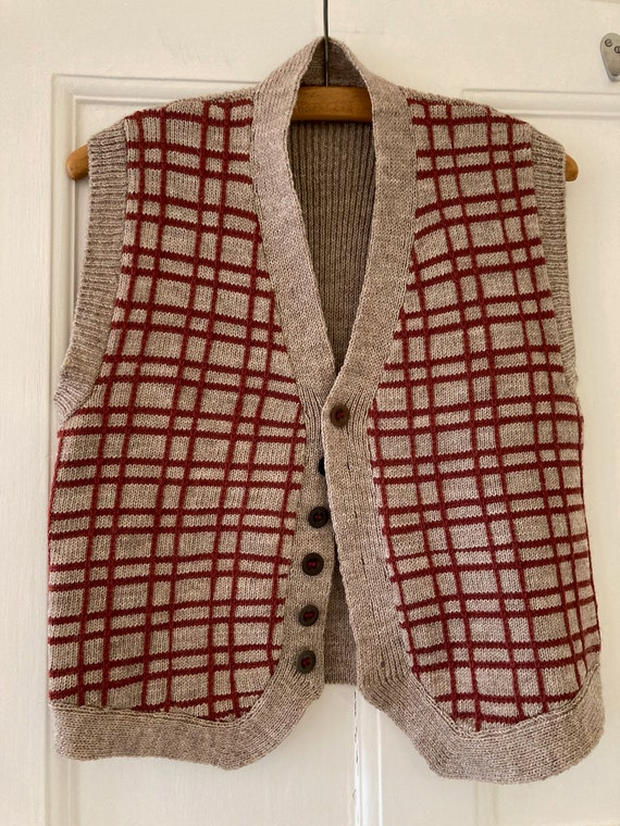 1940s style hand knitted wool waistcoat
